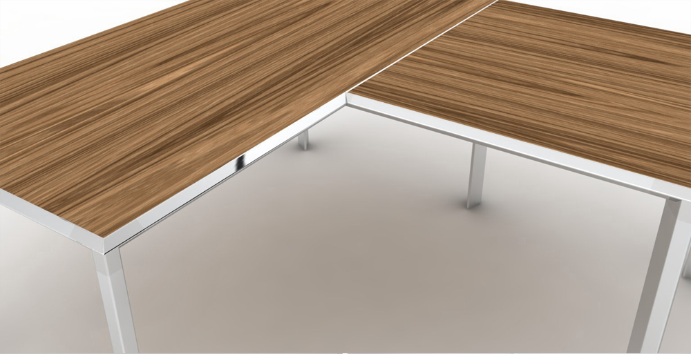 Aluminium table with wooden top