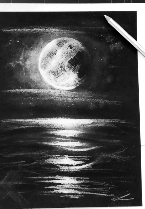 black papaer sketch with white pencil moon